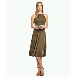 Ann Taylor Halter Flare Midi Dress Green NWT